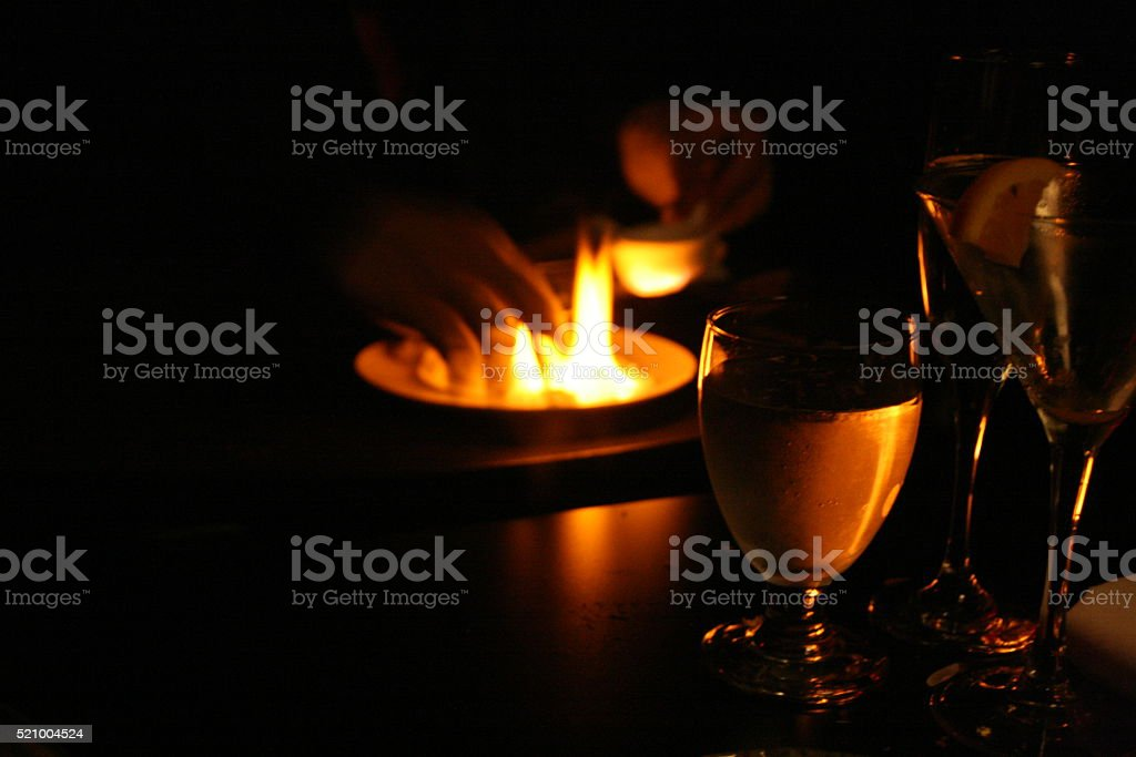 Tableside Fire stock photo