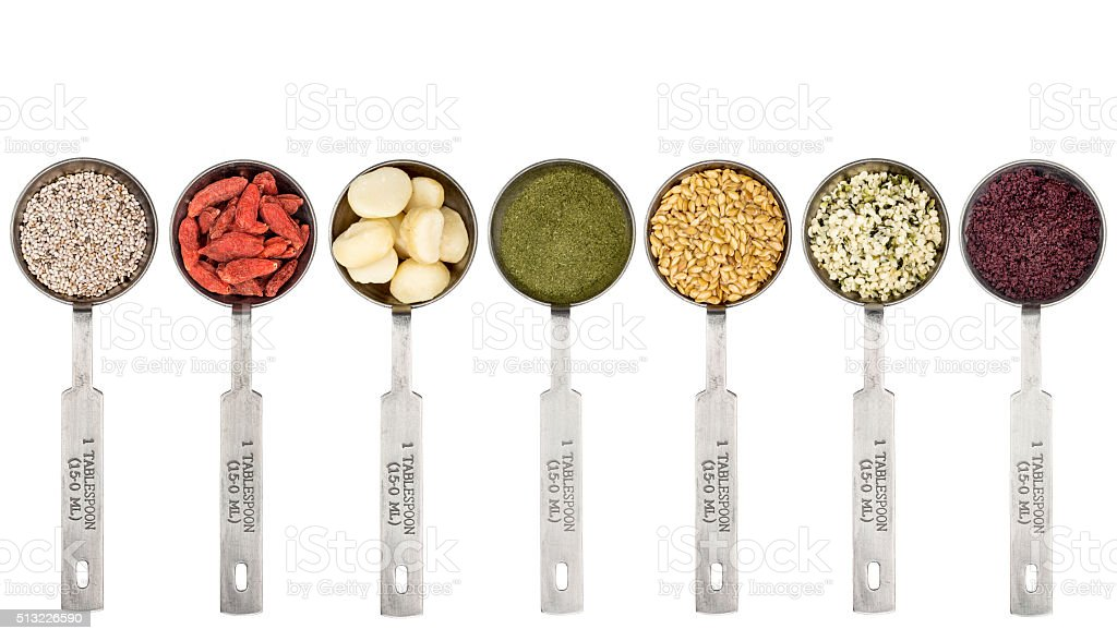 tablespoons of superfood set stock photo