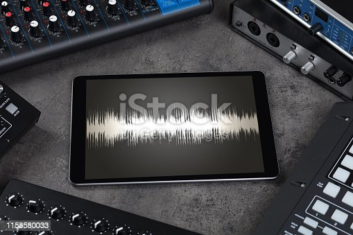 istock Tablet and electronic music instruments 1158580033