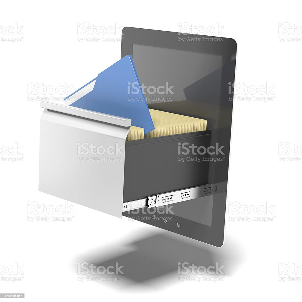tablet and file cabinet royalty-free stock photo