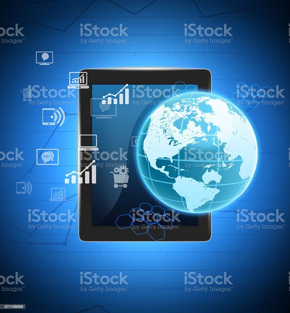 Tablet and glowing globe map with icons next. stock photo