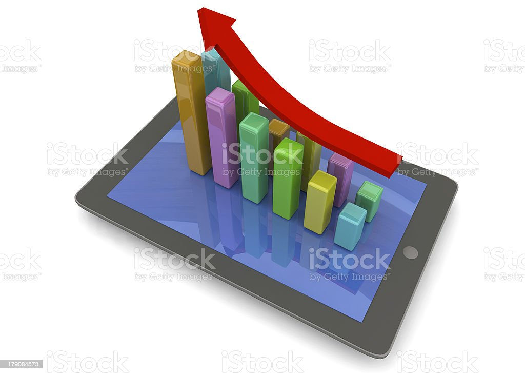 tablet and graph - 3D royalty-free stock photo