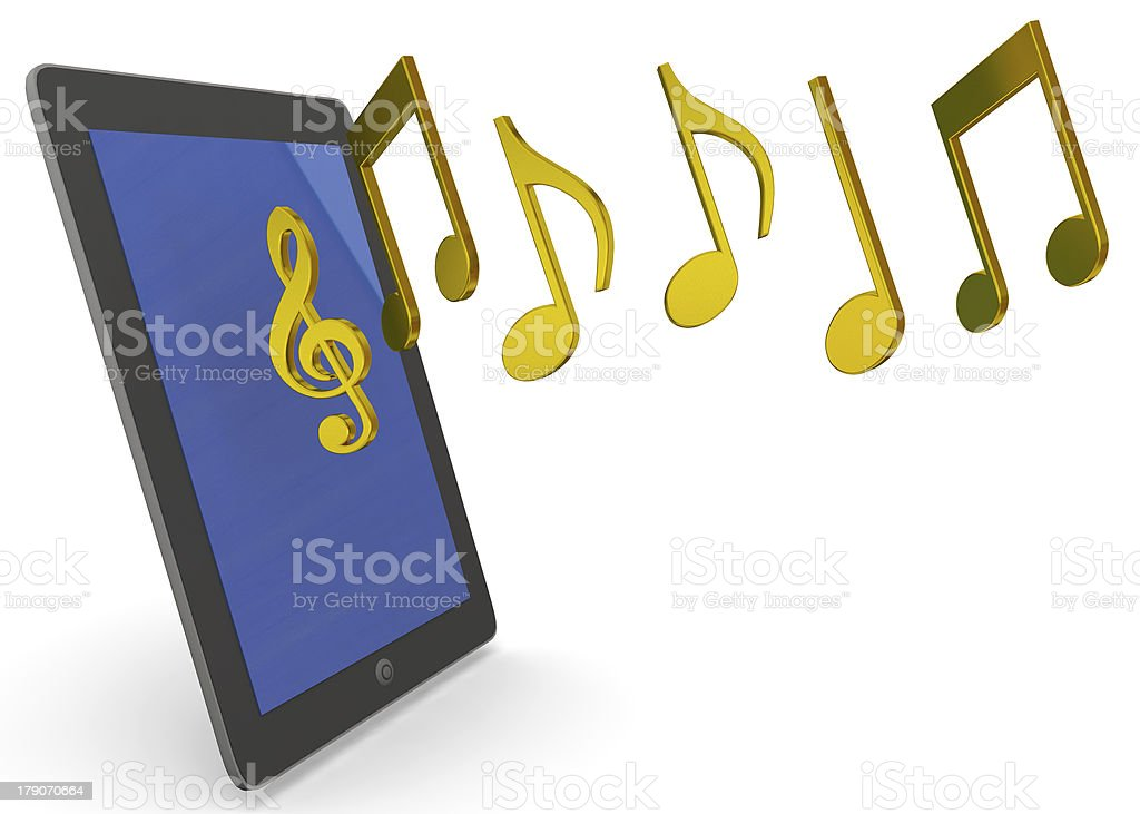 tablet and music - 3D stock photo