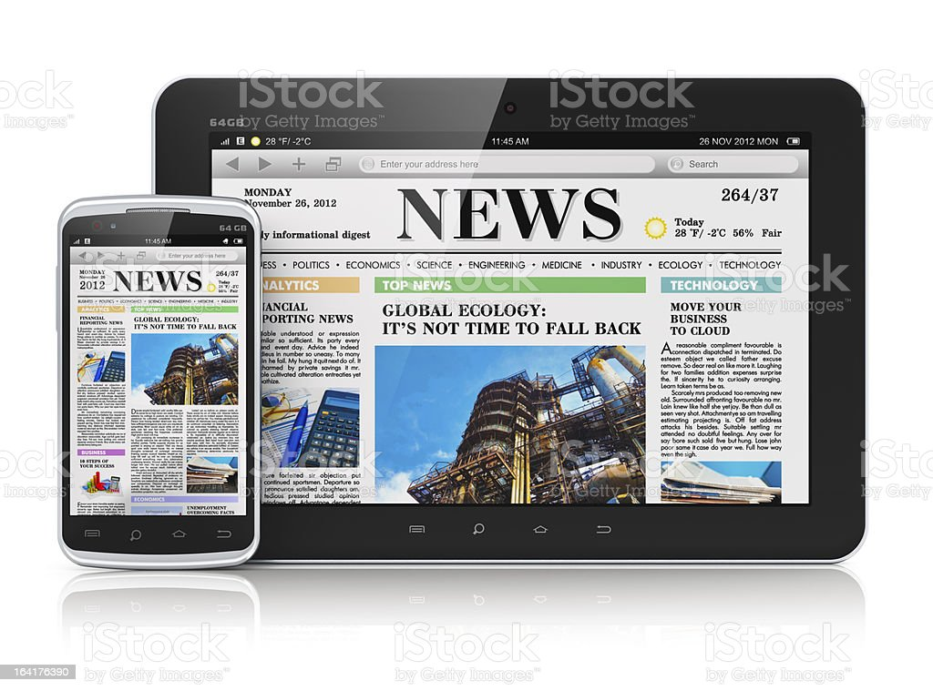 Tablet and smartphone showing front page of a newspaper stock photo