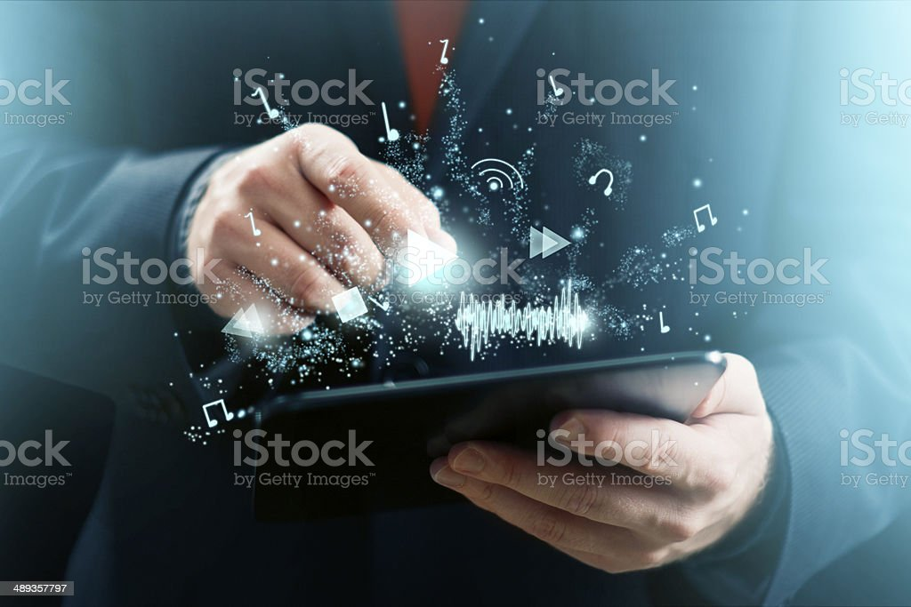 Tablet as Music Player stock photo
