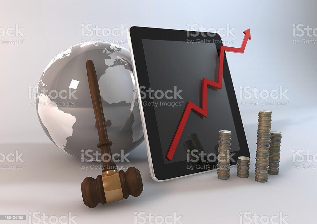 Tablet Bid World royalty-free stock photo