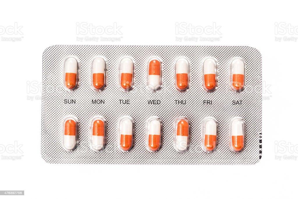 Comprimido cápsulas en un envase blíster - foto de stock