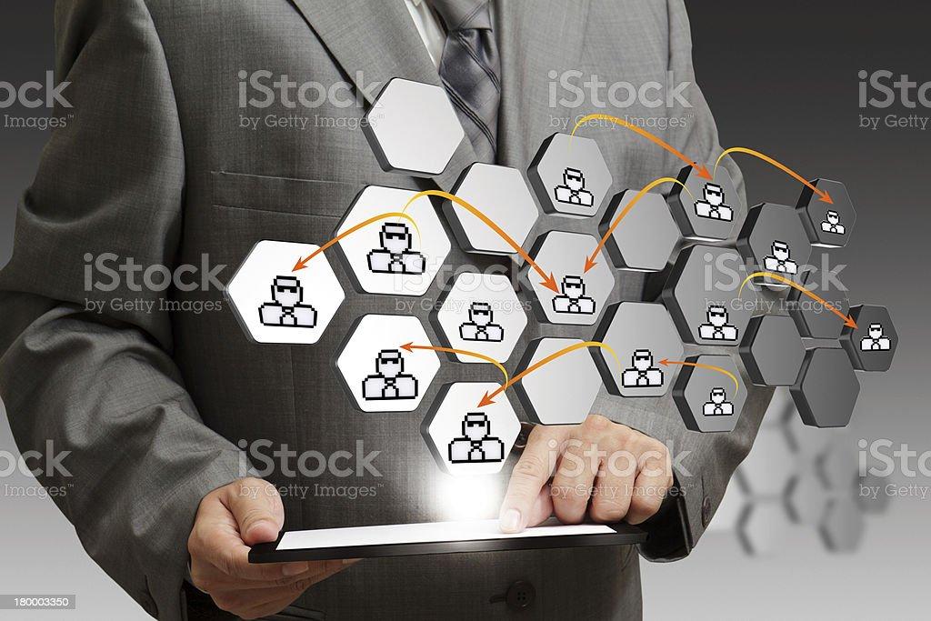 태블릿 컴퓨터 및 추상적임 아이콘크기 소셜 네트워크 컨셉입니다 royalty-free 스톡 사진