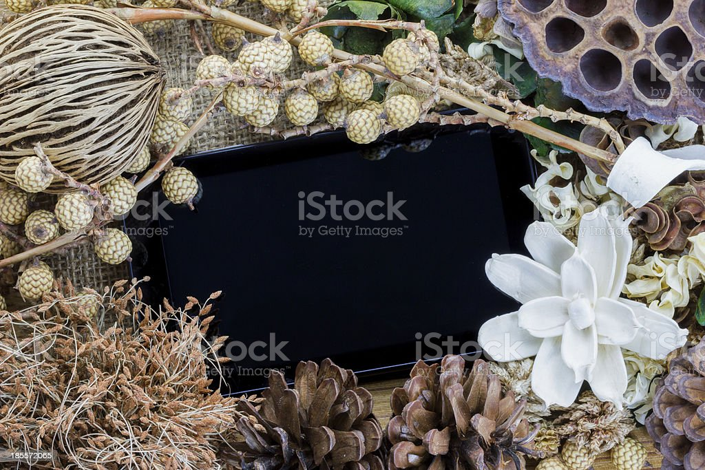 Tablet computer (tablet pc) and Dry flowers royalty-free stock photo