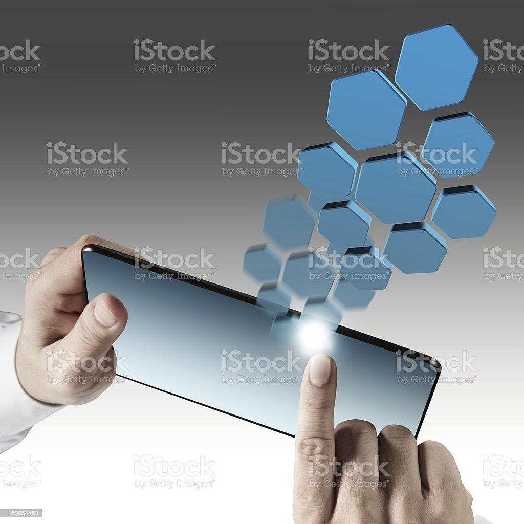 tablet computer and virtual icons royalty-free stock photo