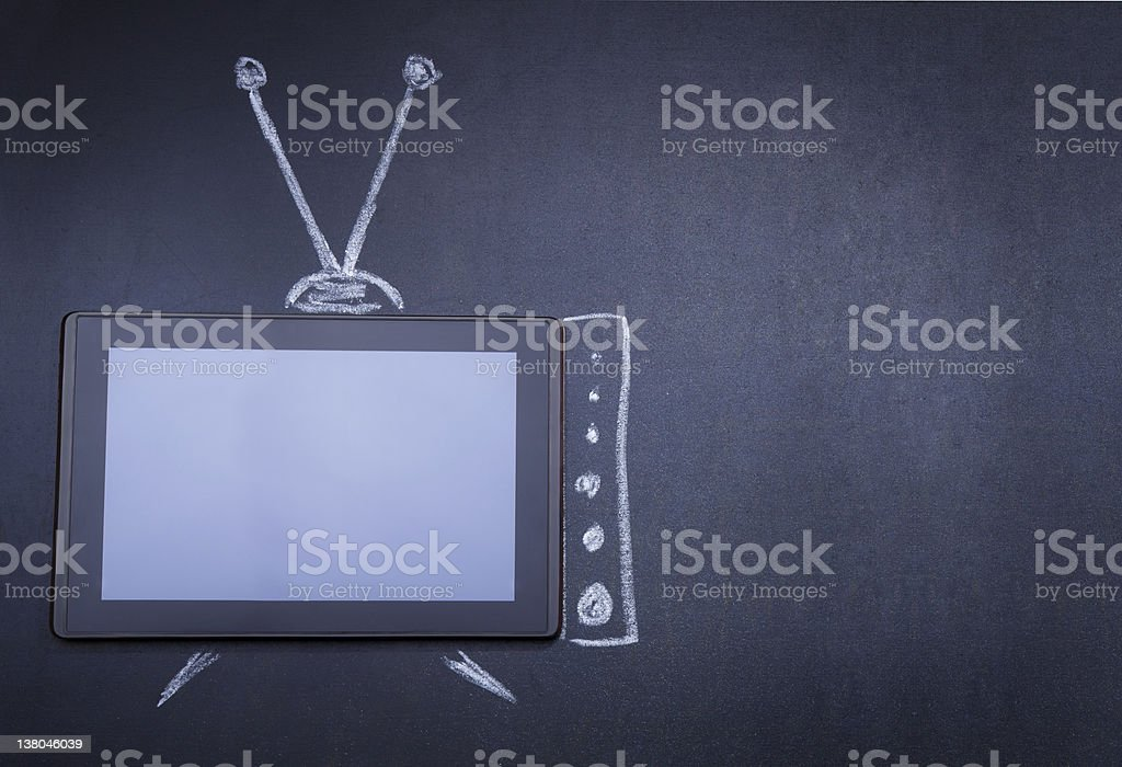 Tablet computer as TV - Royalty-free Blackboard - Visual Aid Stock Photo