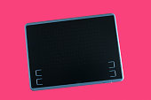 tablet computer isolated on pink background, tablet computer with blank screen, design