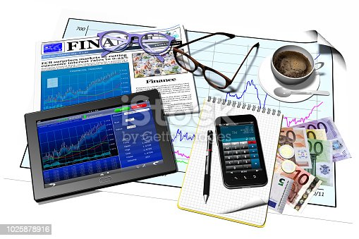 932821906 istock photo Tablet Computer Smartphone Finance - 3D illustration 1025878916