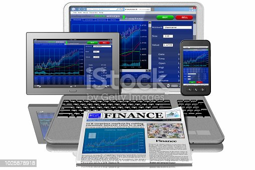 932821906 istock photo Tablet Computer Smartphone Finance - 3D illustration 1025878918