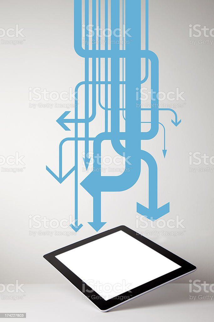 Tablet computer with arrows royalty-free stock photo