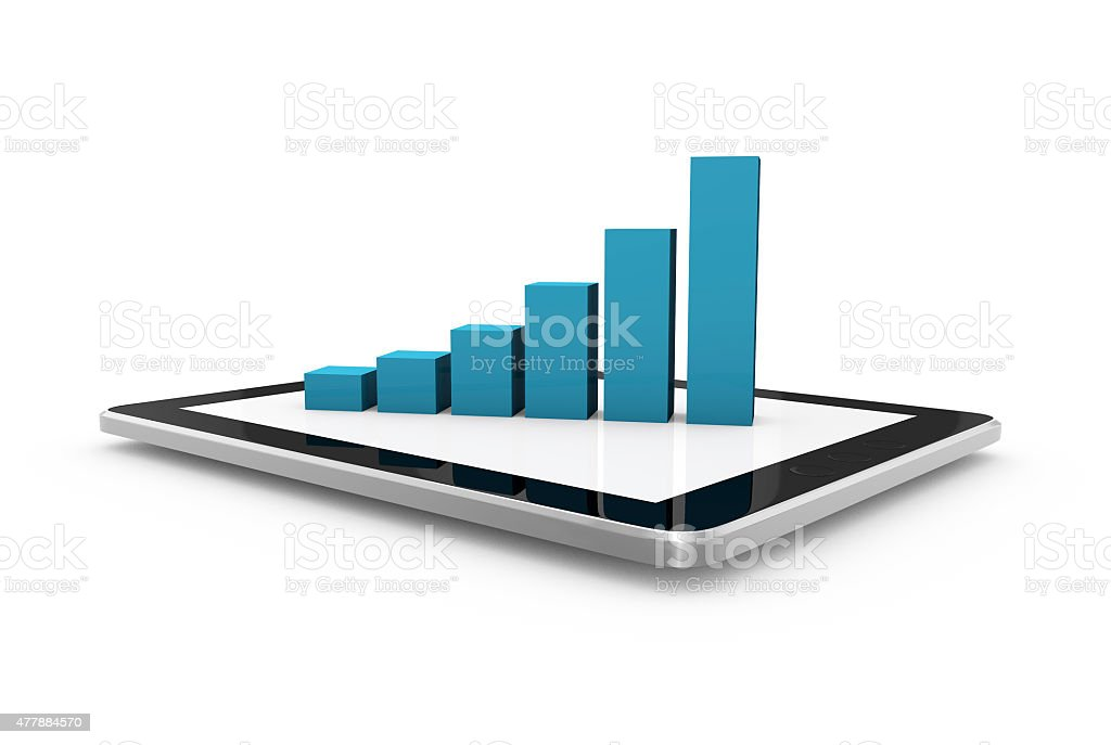 Tablet computer with bar chart stock photo