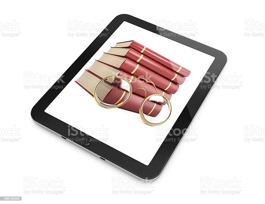 Tablet computer with books on screen royalty-free stock photo