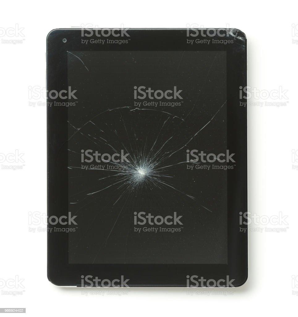 Tablet computer with broken screen stock photo