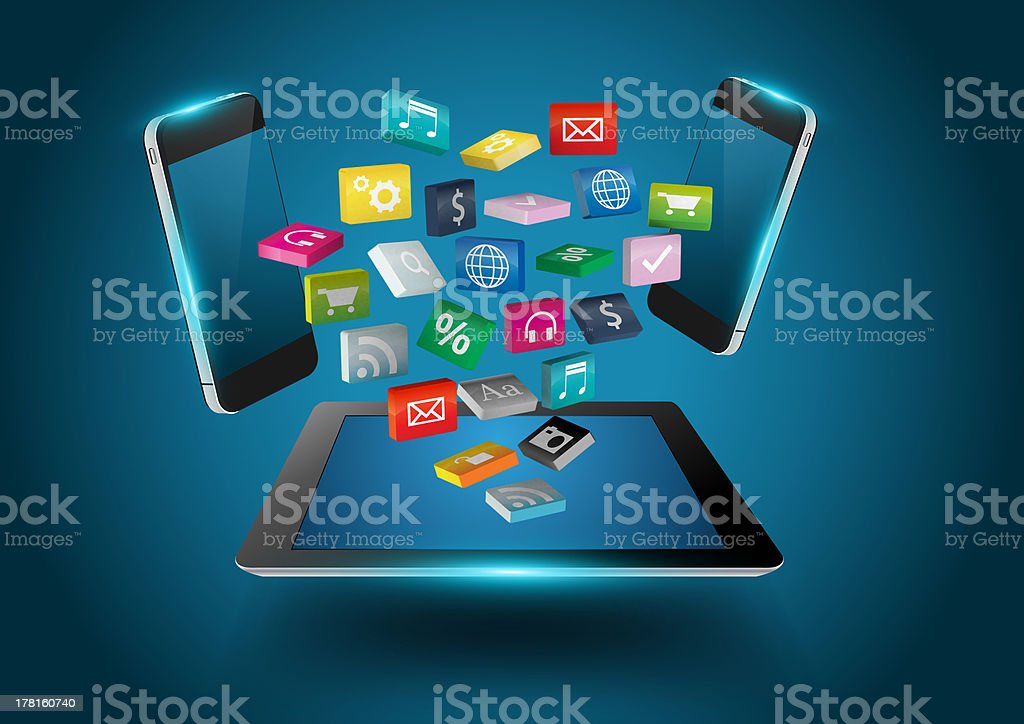 Tablet computer with colorful applications icons royalty-free stock photo