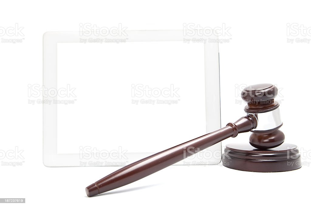 Tablet Computer with Gavel stock photo