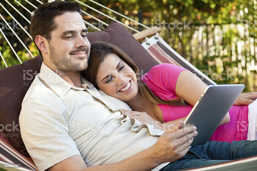 Tablet Computing In A Hammock royalty-free stock photo