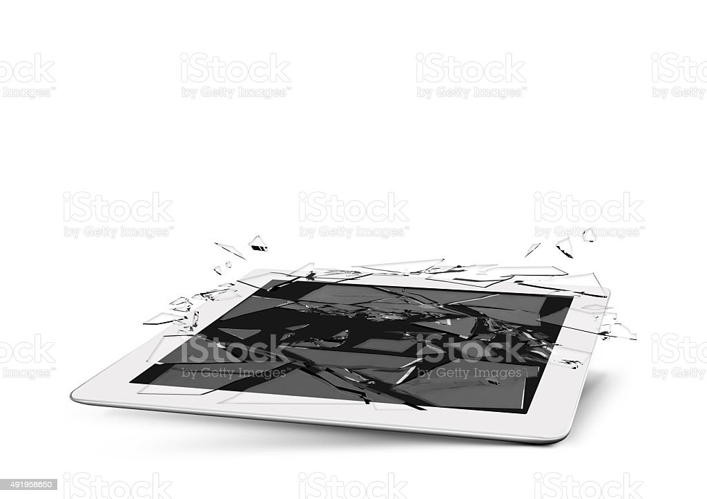 tablet device glass broken stock photo