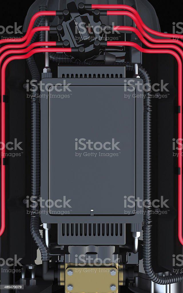 Tablet docking station on a V8 engine royalty-free stock photo