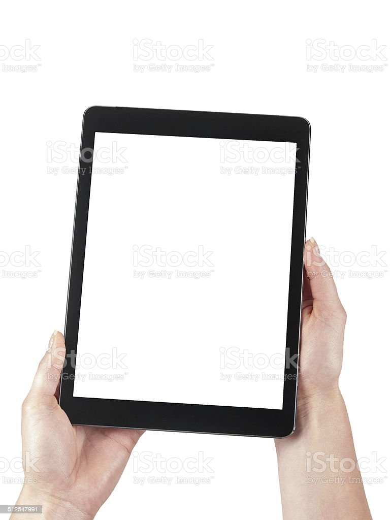 Tablet held in the women hands on a white background stock photo