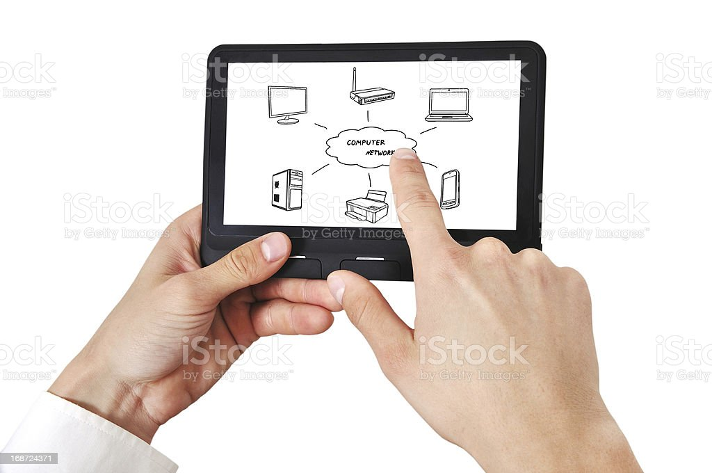 tablet in hand royalty-free stock photo
