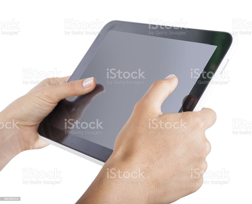 tablet in hands on an isolated royalty-free stock photo