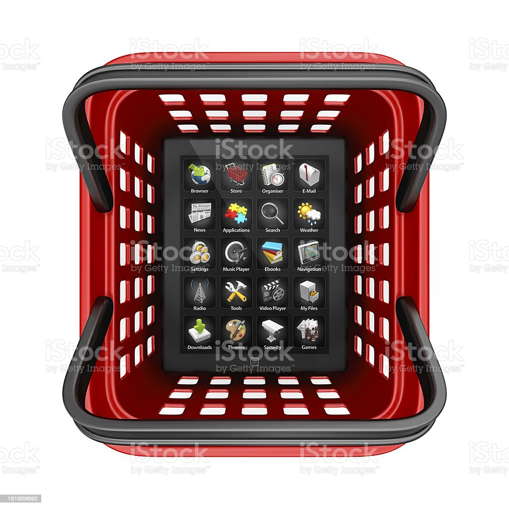 tablet in shopping basket royalty-free stock photo