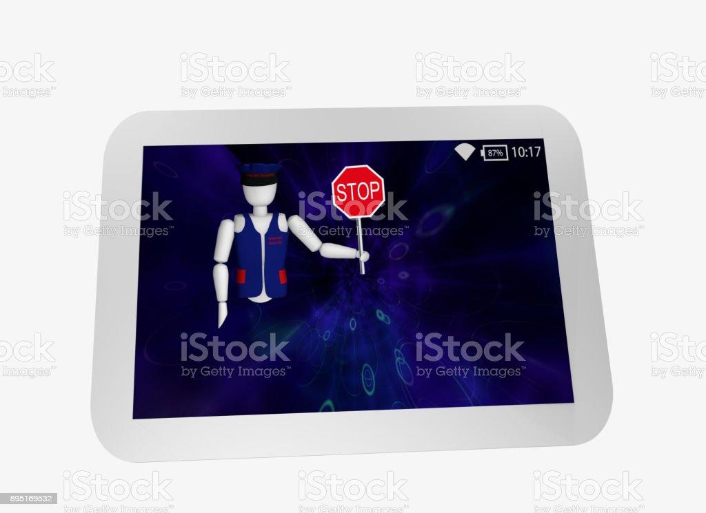Tablet in Weiß Mit Blauem Display. Aus Dem Bildschirm Kommt Eine Marionette Mit Uniform Und Stoppschild. – Foto