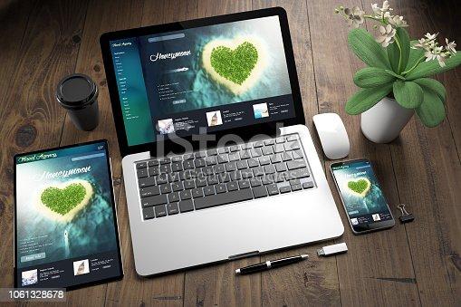 istock tablet, laptop and mobile phone over wooden desktop showing honeymoon website 1061328678