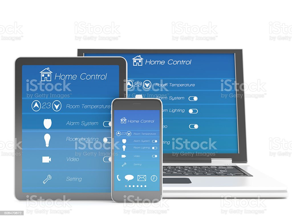 Tablet, mobile phone and laptop with program Smart home automation stock photo