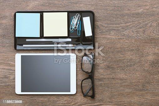 1134879628 istock photo Tablet on the desktop 1188623868
