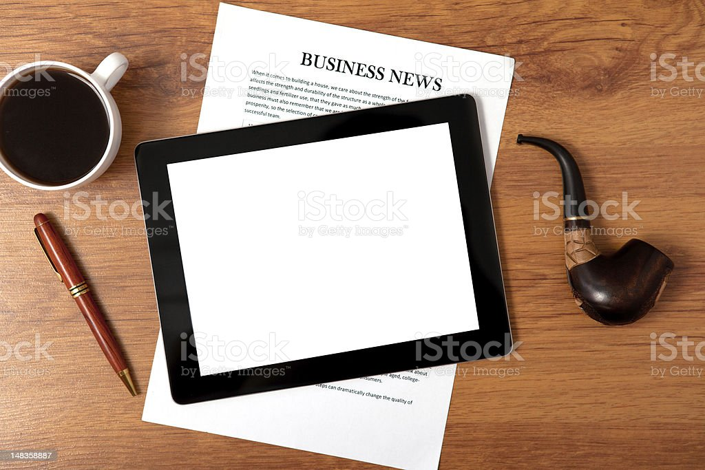 tablet on the table of businessman ceo royalty-free stock photo