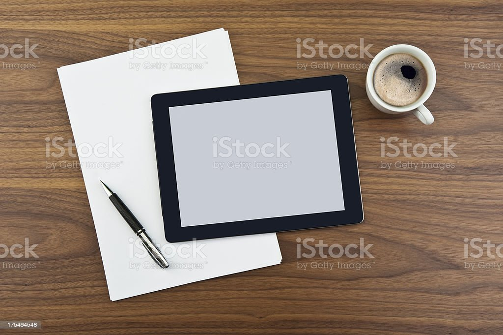 Tablet PC and Coffee Break royalty-free stock photo