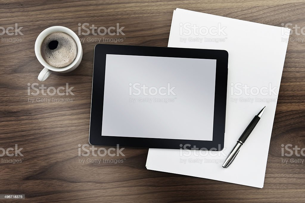 Tablet PC and Coffee Break stock photo