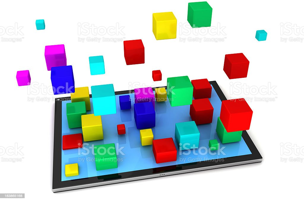 Tablet PC and cubes royalty-free stock photo