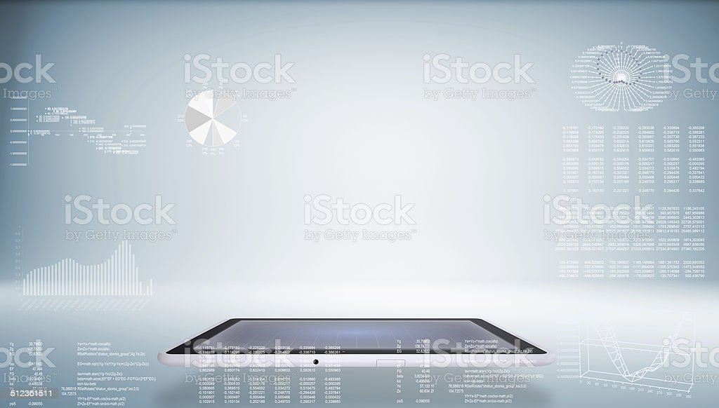 Tablet pc and high-tech graphs stock photo