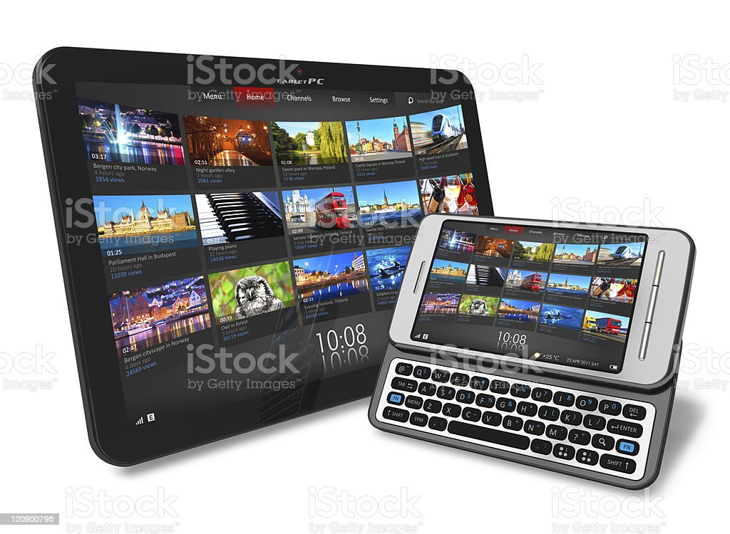 Tablet PC and side slider touchscreen smartphone royalty-free stock photo