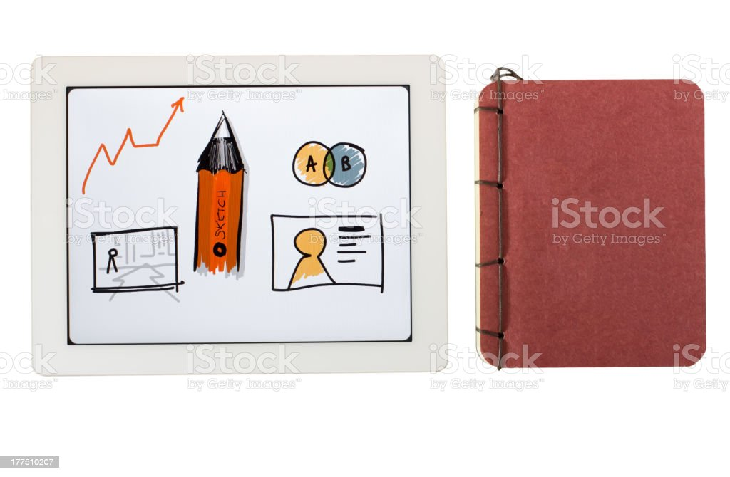 tablet pc and sketch book(Series) royalty-free stock photo