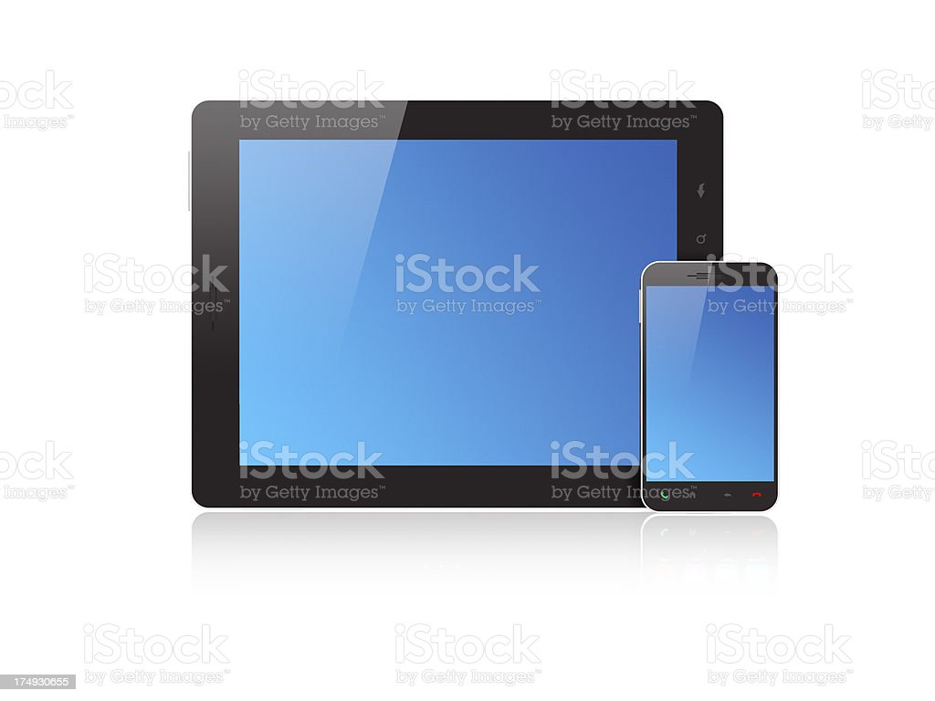 Tablet PC and Smartphone - Blue Screen royalty-free stock photo