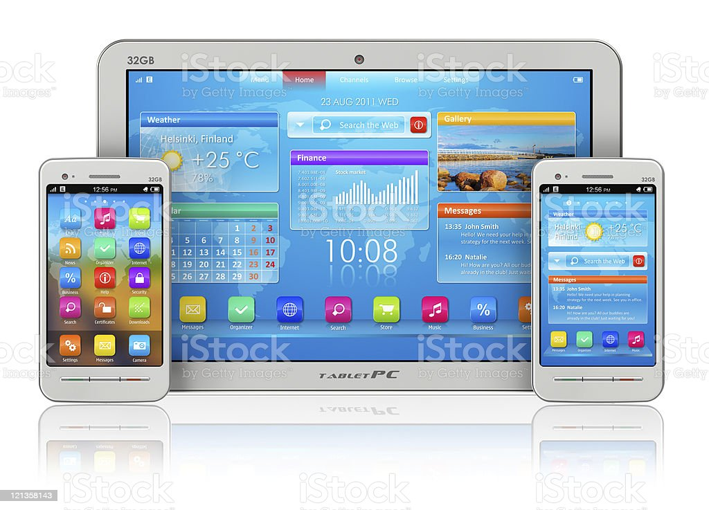 Tablet PC and smartphones royalty-free stock photo