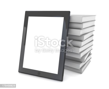 istock Tablet PC and Stack of Books 175455625