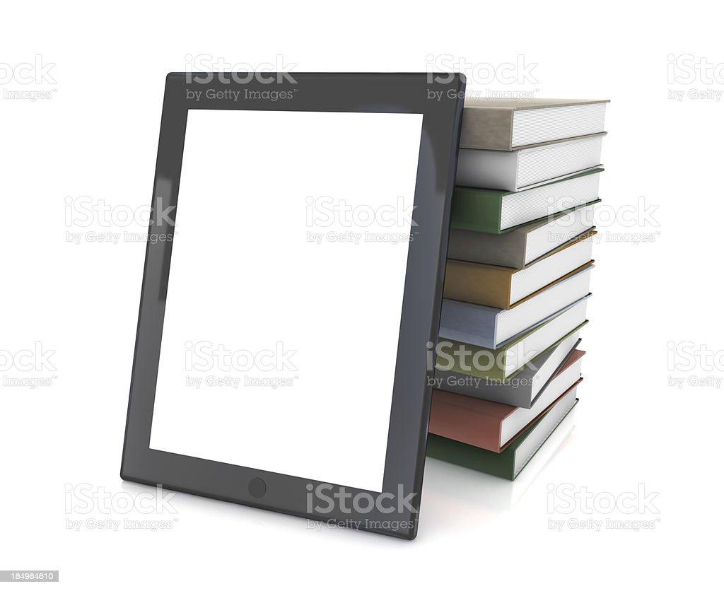 Tablet PC e pilha de livros - foto de acervo