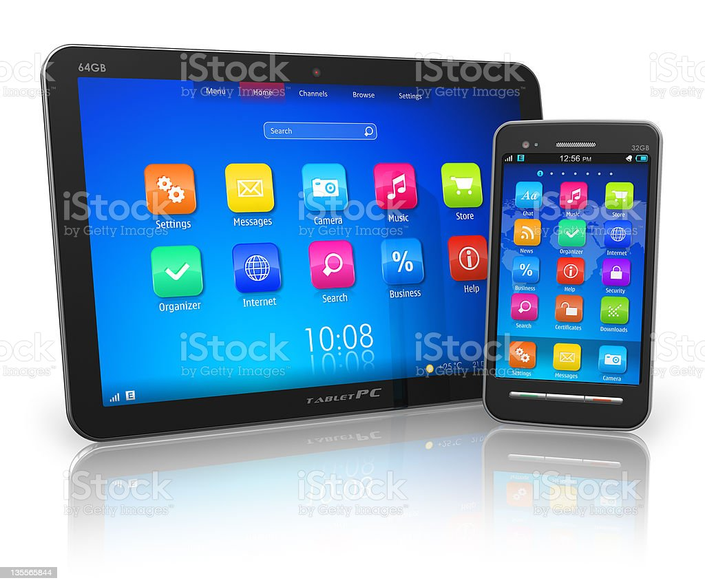 Tablet PC and touchscreen smartphone royalty-free stock photo