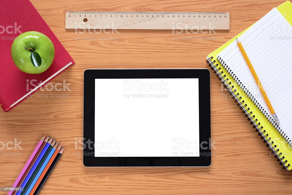 Tablet pc at school stock photo
