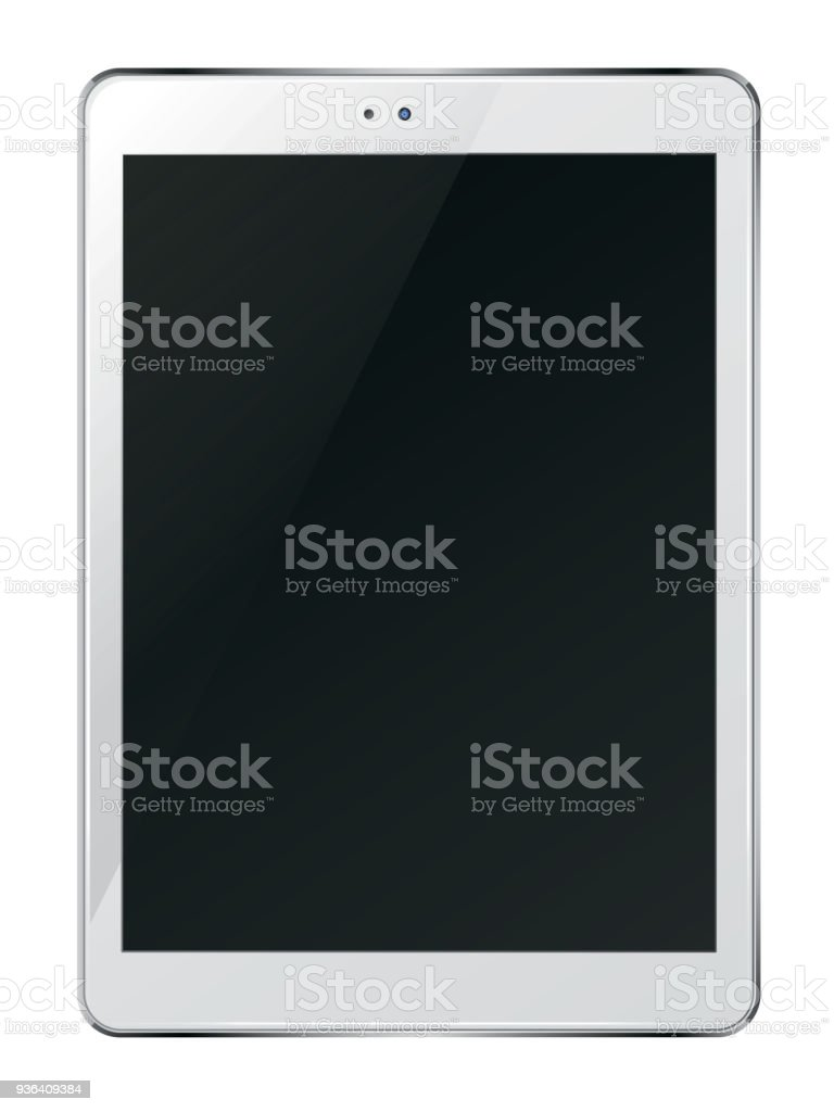 Tablet pc computer with black screen. stock photo