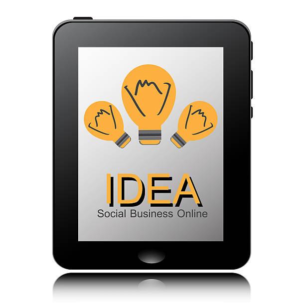 タブレット pc コンピューター、電球のアイコンを display.vector eps 10 - business icon eps ストックフォトと画像